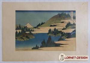 Ukiyo-e (monde flottant) du lac Hakone, série des 36 vues du Mont Fuji (Hokusai, 1833). Impression de Takamizawa (période Showa) dans les années 1960.